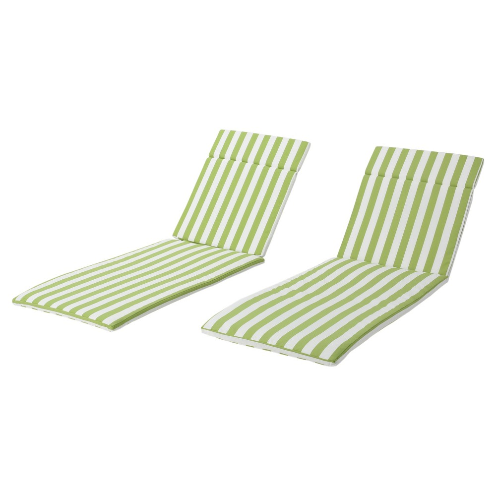 Salem Set of 2 Chaise Lounge Cushions - Green and White Stripe - Christopher Knight Home