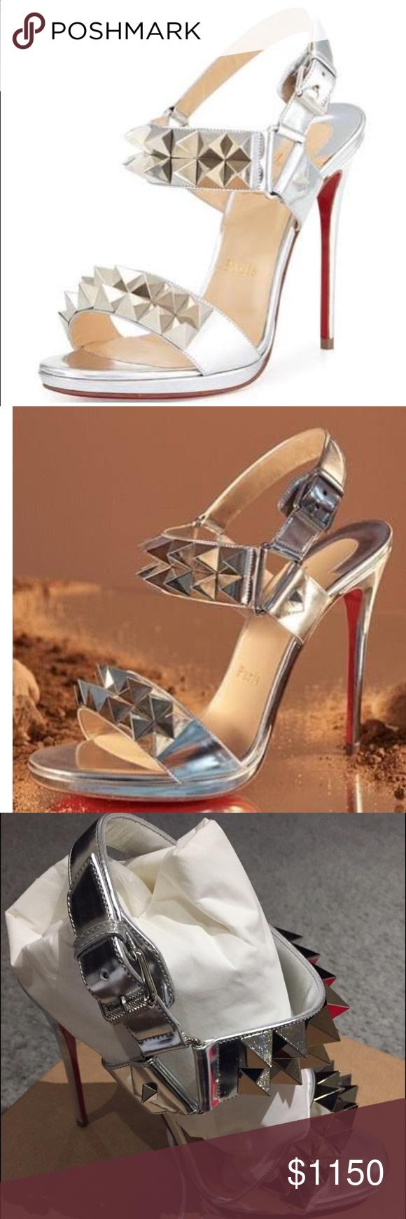 7e374e6fa13 Miziggoo Spiked Two-Band Red Sole Sandal, Silver BRAND NEW ...