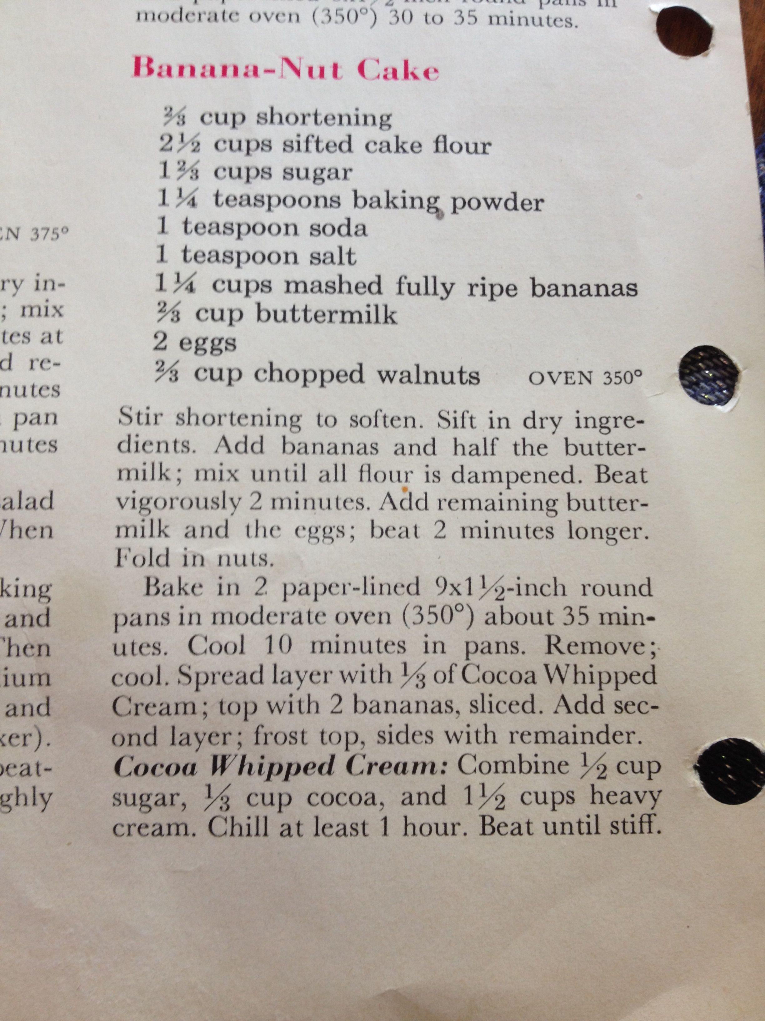 Banananut cake from betty crocker cook book banana nut