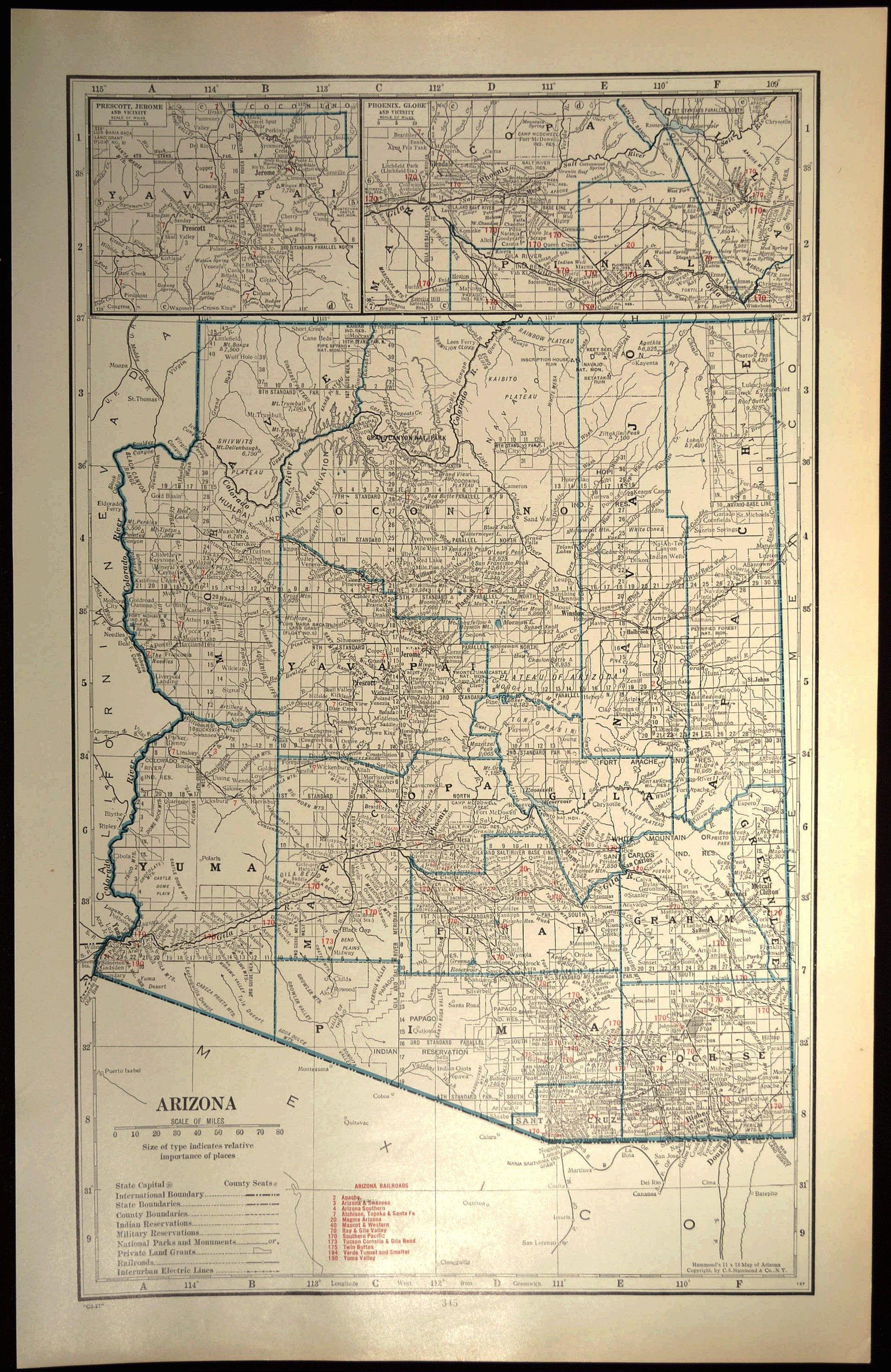 Arizona Map Of Arizona Wall Art Decor Large Railroad Map Wedding Gift Idea For Him Print Old Arizona Map Vintage Maps Map Wall Decor