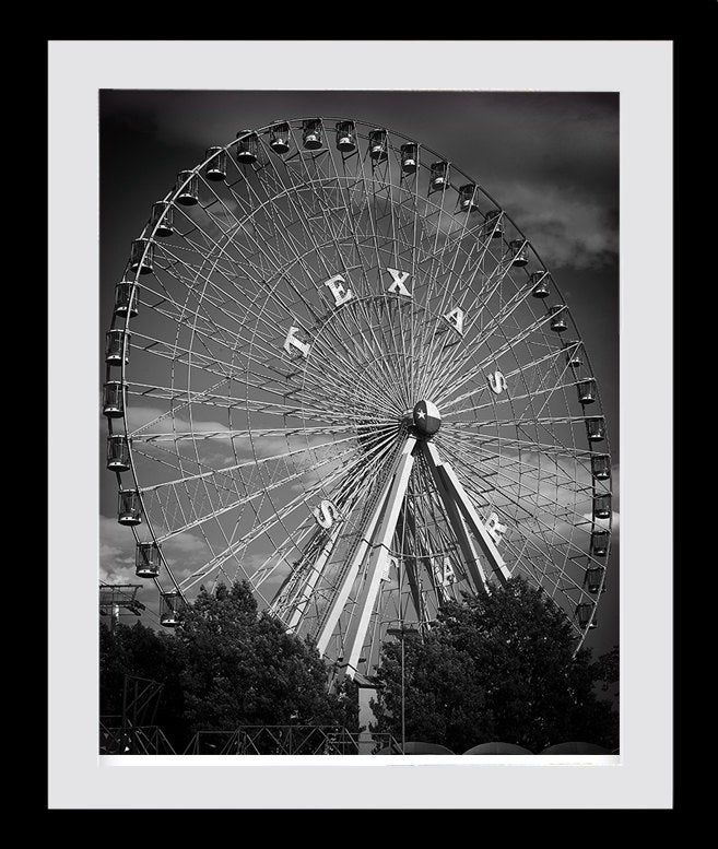 Dallas Texas, Ferris Wheel, Black White Photo, Large Wall