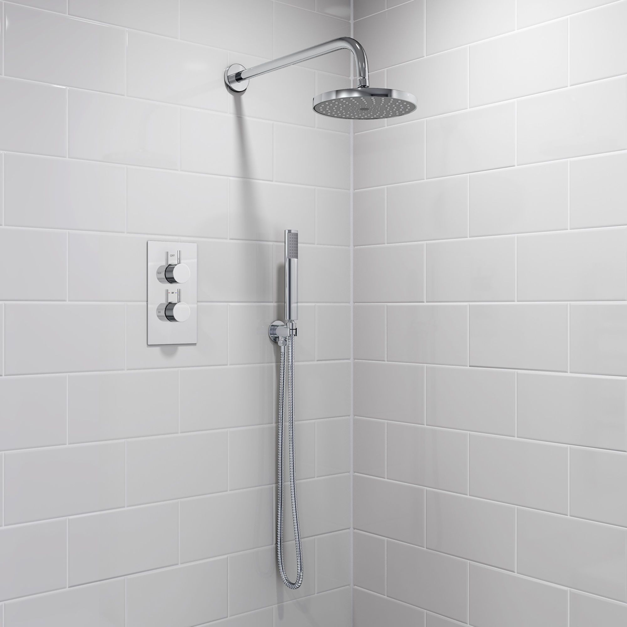 200mm Round Wall Mounted Head, Handheld & Thermostatic