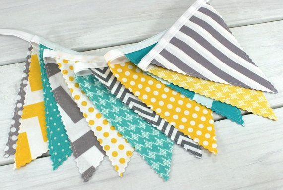 Handmade Garland Double Sided Cotton BuntingYellow Grey geometric