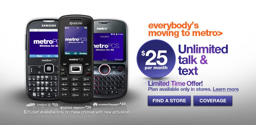 MetroPCS Special New Activations Rate 25 a month