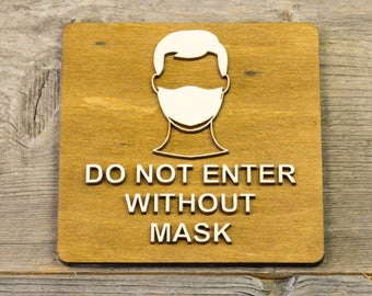 Signs Etchpl Wooden Door Signs Do Not Enter Without Mask Wear Face Mask Wood Sign Surgical Mask Door Plaque Wooden Door Signs Door Plaques Entry Signs