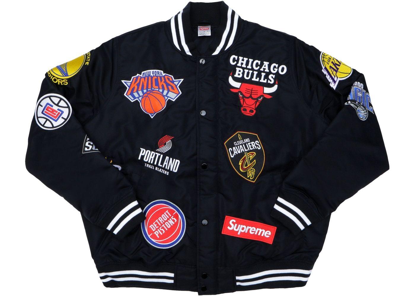 Supreme Nike Nba Teams Warm Up Jacket Black Leather Varsity Jackets Varsity Letterman Jackets Black Letterman Jacket