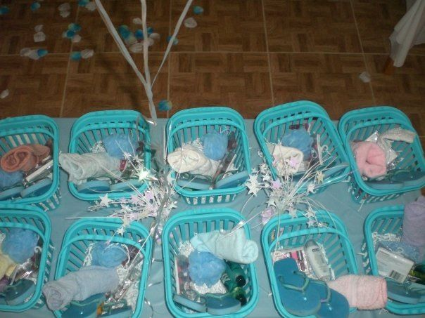 Baskets for the girls with lotions, soap, sponges, splashes, nail polish, sandals, and more