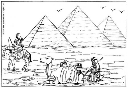 Coloring Page Pyramids Of Giza Coloring Pages Egyptian Drawings