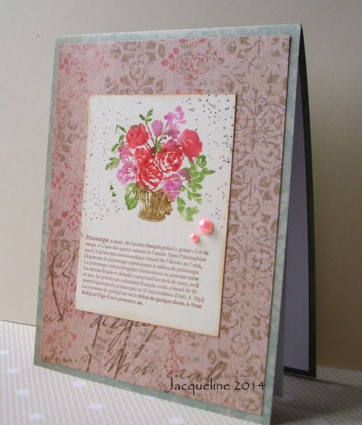 Using an old Anne Griffin stamp using distress markers