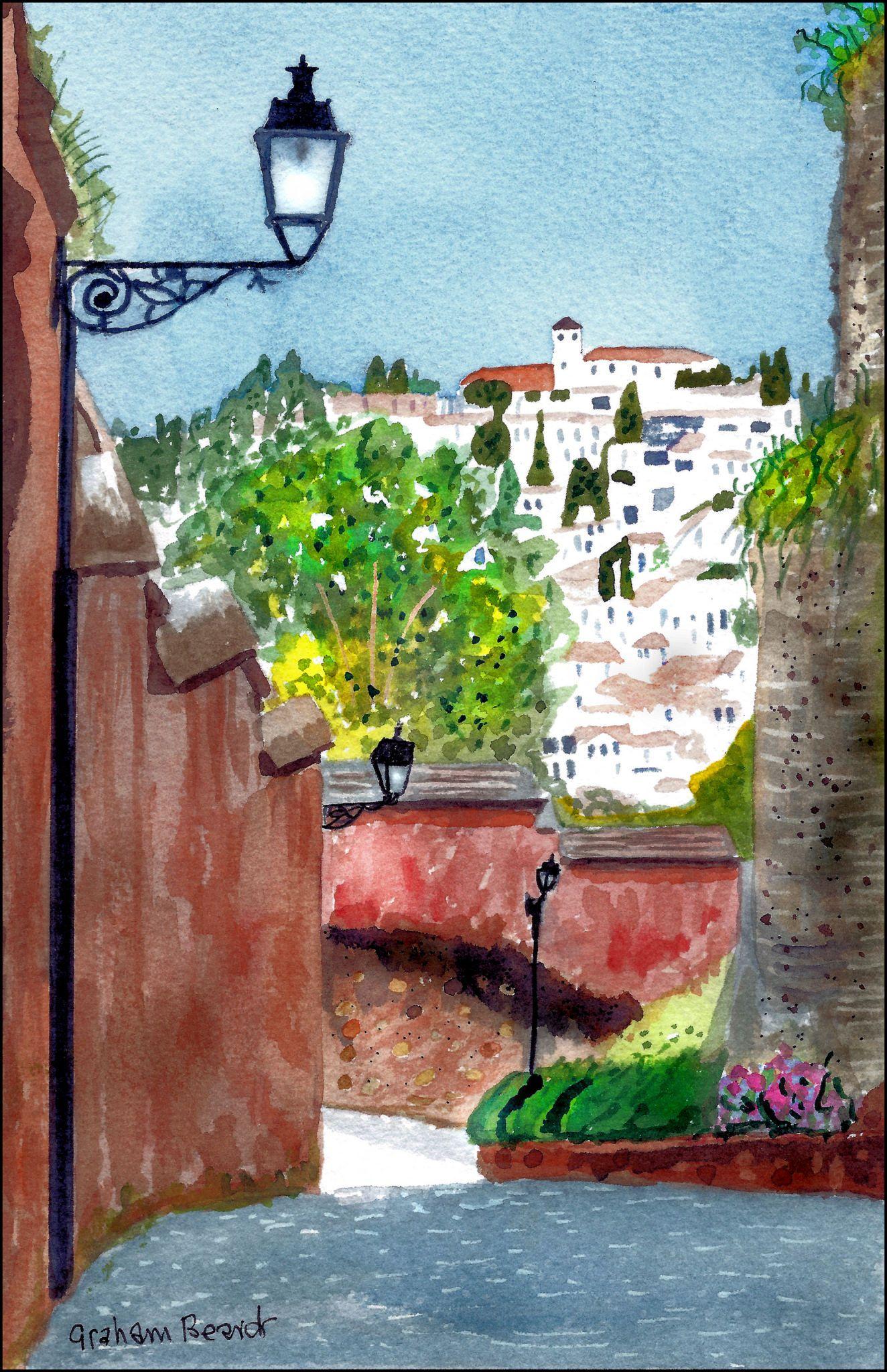 https://flic.kr/p/WscdHW | The Albaicin | The Albaicin, Granada, watercolour