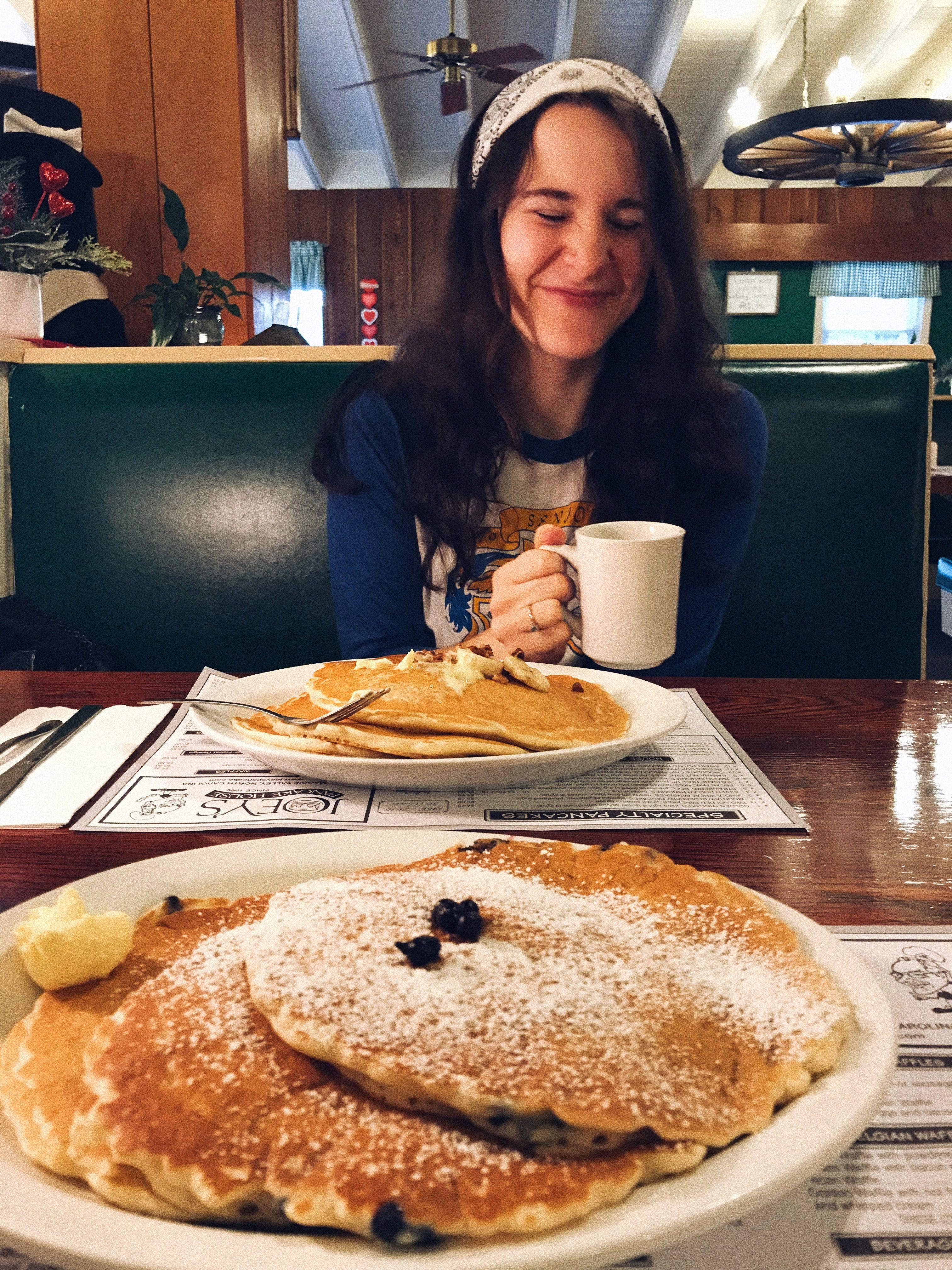 Blueberry syrup banana pancakes coffee coffee coffee