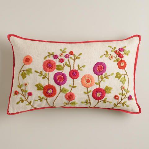 Warm Floral Embroidered Lumbar Pillow Almofadas Bordadas Almofadas Decorativas Para Cama Almofadas Coloridas