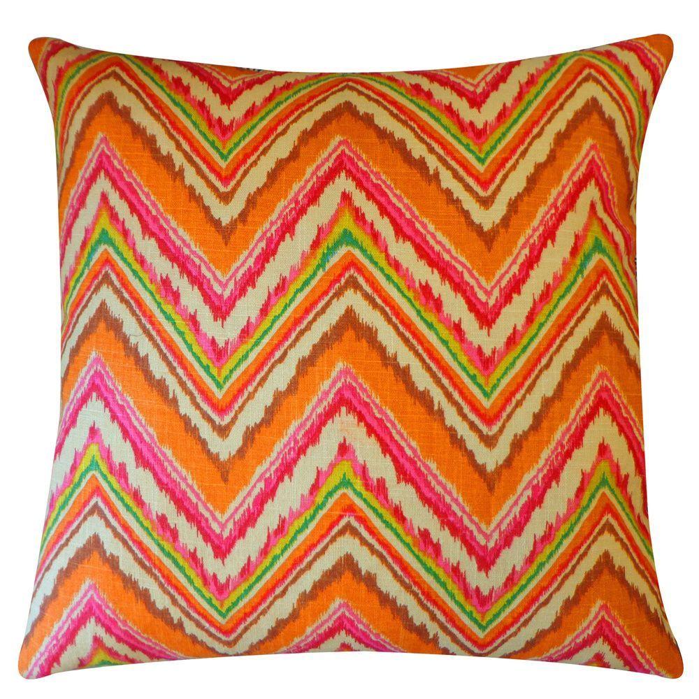Ice Pink Orange Zig-Zag 20x20-inch Pillow