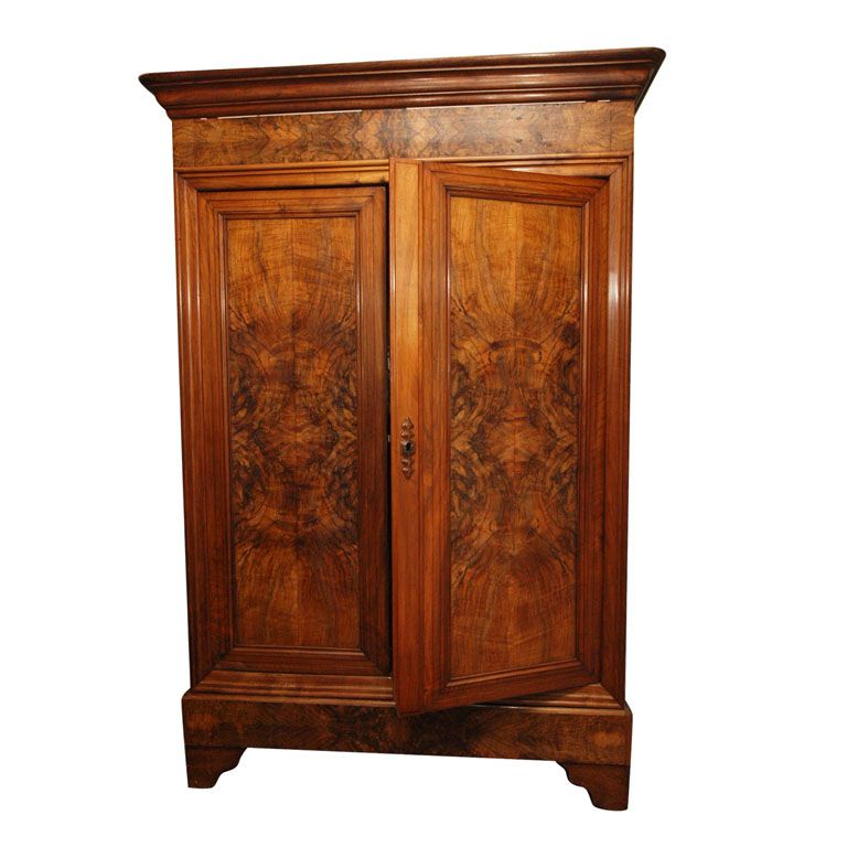 A Louis Philippe Style Burl Walnut Double Door Armoire | 1stdibs.com
