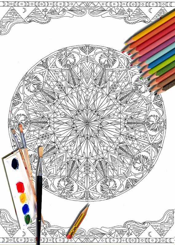 Mandala Coloring Pages Art Therapy Printable Egyptian by ValrArt