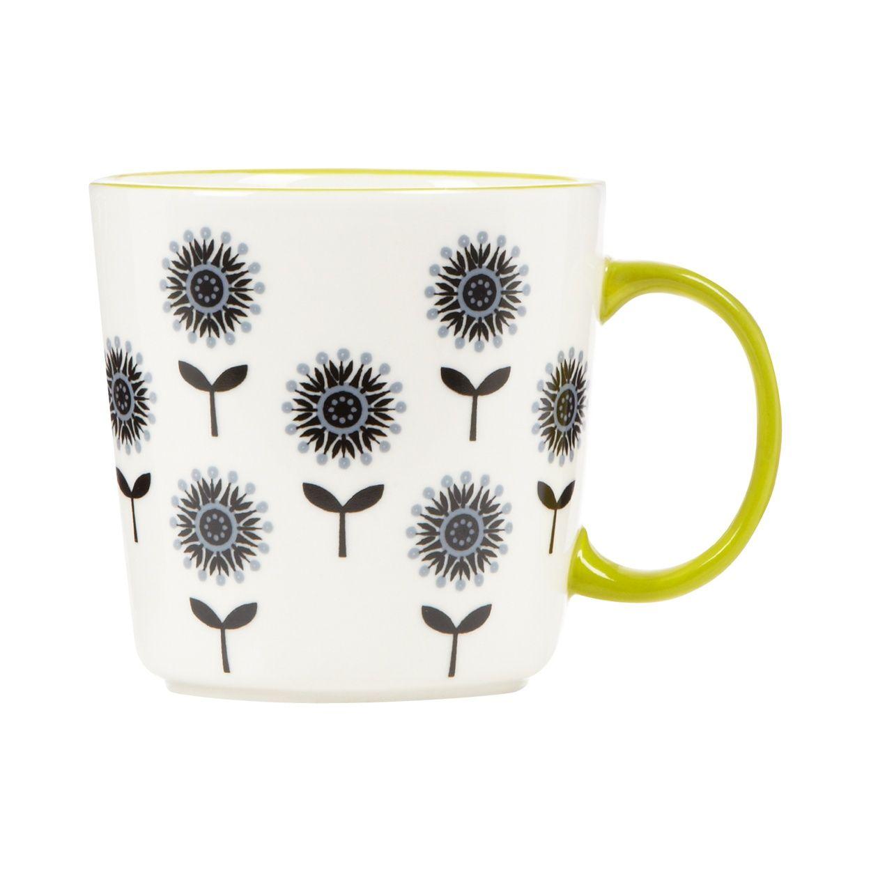 Debenhams Stoneware lime small floral mug- at Debenhams.com