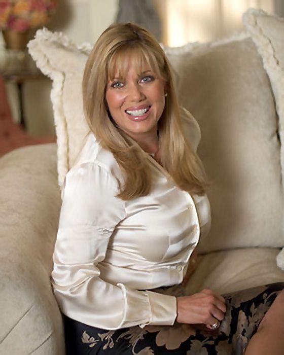 4e0b0be33f03ae Deborah Shelton in plus size cream satin fitted blouse | White Satin ...