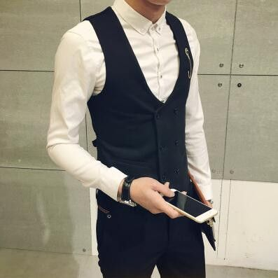 Newest Men Casual Vests Fashion V-Neck Double-Breasted Sleeveless Waistcoat  Mens Dress Suit