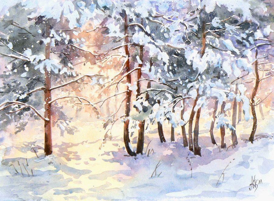 самых природа акварелью картинки зима расположена