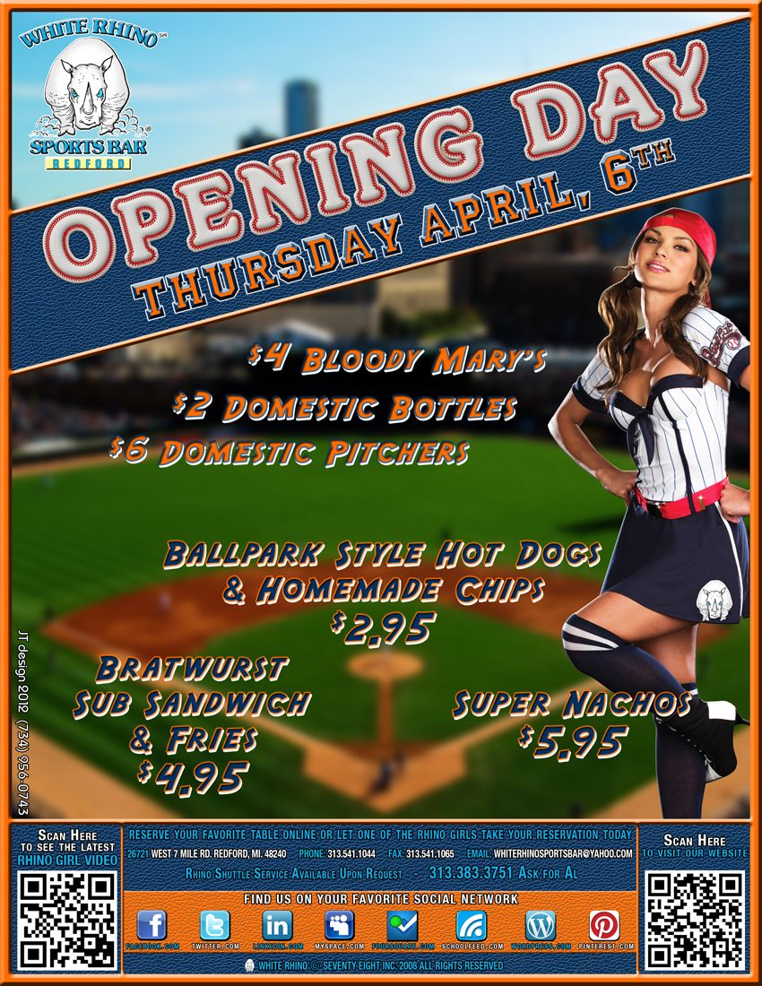 White Rhino    Baseball is back!!! Detroit Tiger Opening Day!!! GO TIGERS!!!!