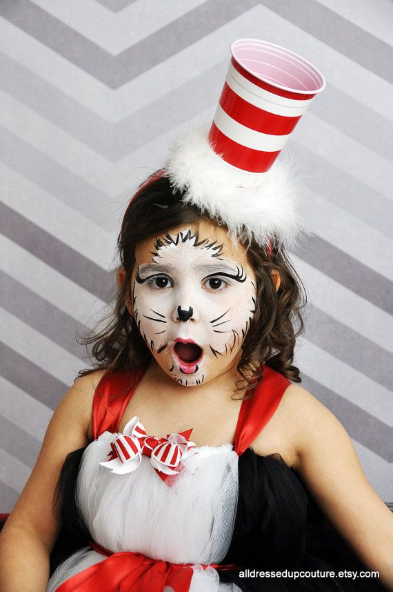 Adult Kids Cat in the Hat Dr Seuss Costume Book Week Cosplay Shirt Hat Tutu