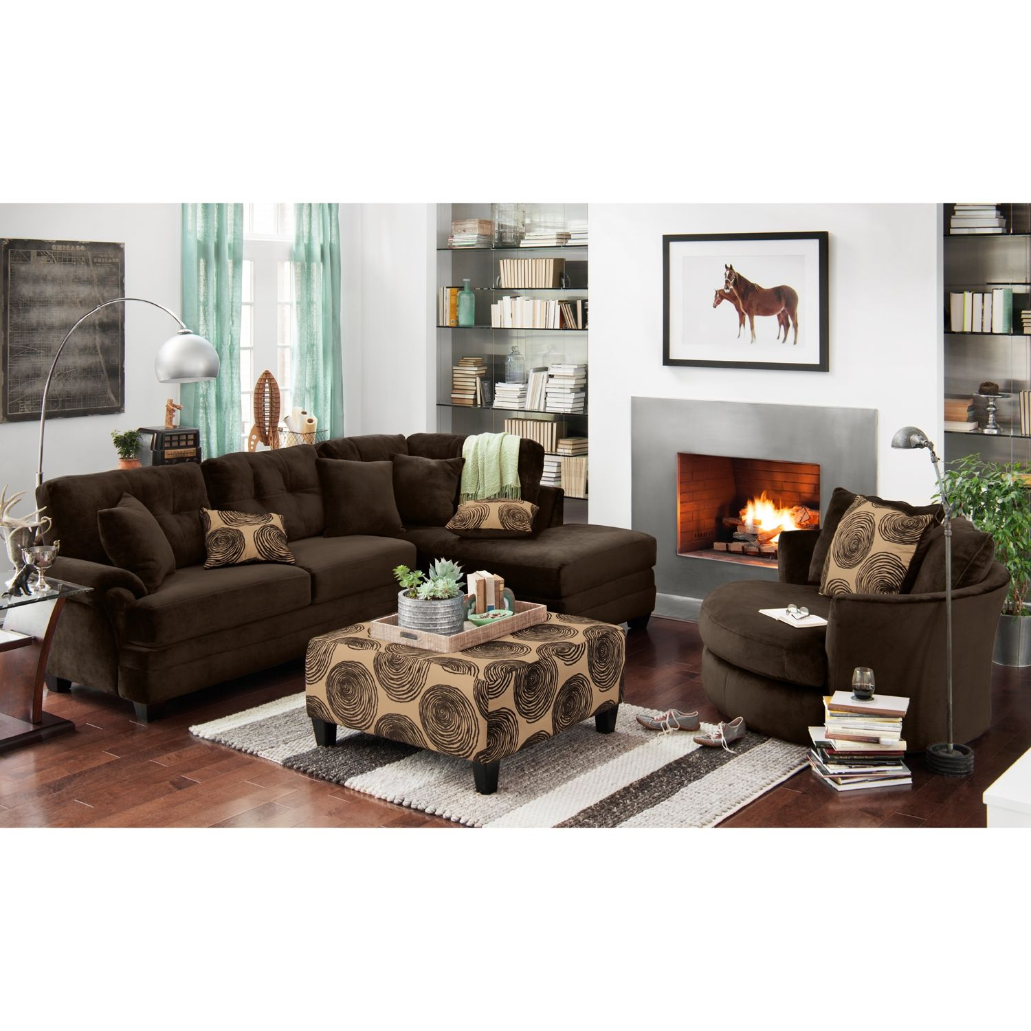 Living room furniture cordoba 2 pc sectional - Living Room Furniture Cordoba Chocolate Ii 2 Pc Sectional