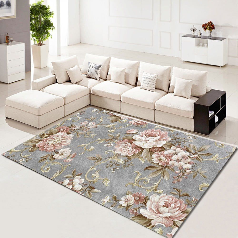 Living Room Carpet Floral Beautiful Washable Rug 57 55