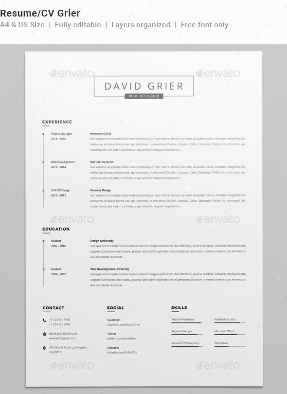 Resume/CV Grier #us letter resume #job resume Download    - simple resume examples for college students