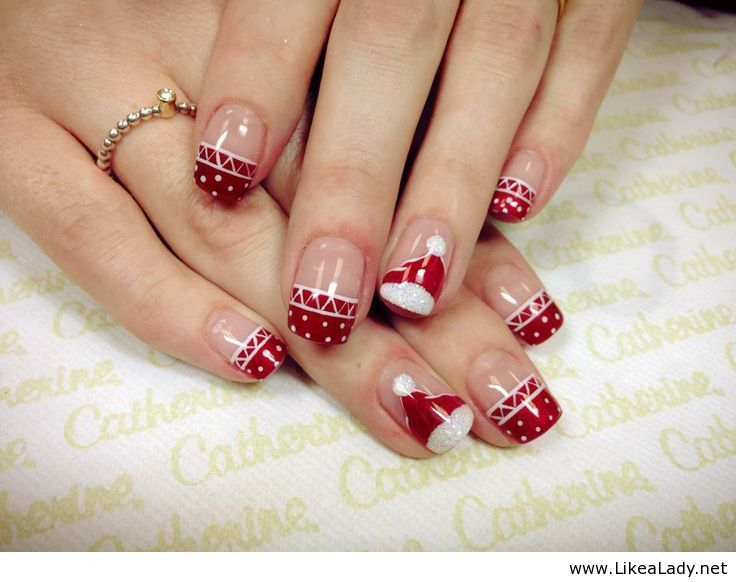 Amazing Christmas Nail Art With Red And White Nuts Over Nails