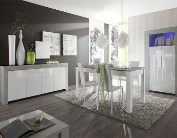 Salle à manger moderne complète bois gris et blanc laqué ...