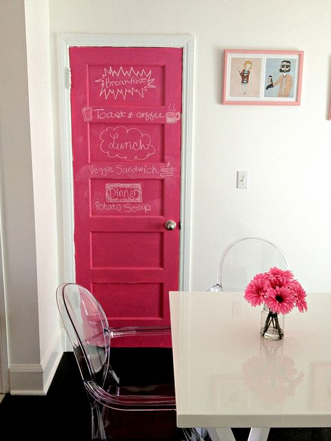 Pink chalkboard door! I love this. I'd love to do this in my daughter's room... but, in teal. More photos here: http://www.ourcitylights.org/2012/02/new-pink-chalkboard-door/