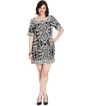 Alfani Plus Size Dress, Short-Sleeve Printed - Plus Size Dresses - Plus Sizes - Macy's