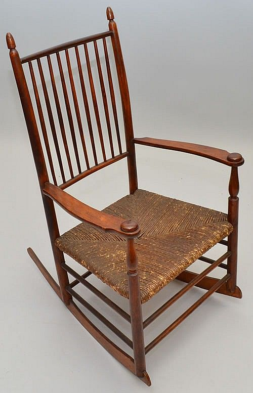 19th Cent Shaker Spindle Back Rocking Chair Chair Rocking Chair Seating