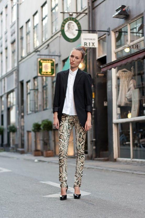 Men/'s Snake Print Fashion Pants