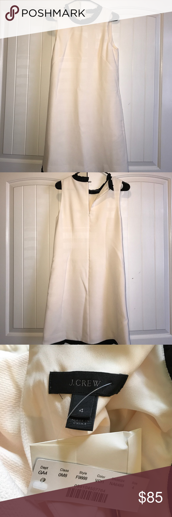 "J Crew Ruffle Dress Size 4 Brand new with tags. From the fall/winter 2016 collection. Comes with original buttons and tags. The dress is a solid cream; the ""pattern"" comes from the sun shining through my blinds! J. Crew Dresses"