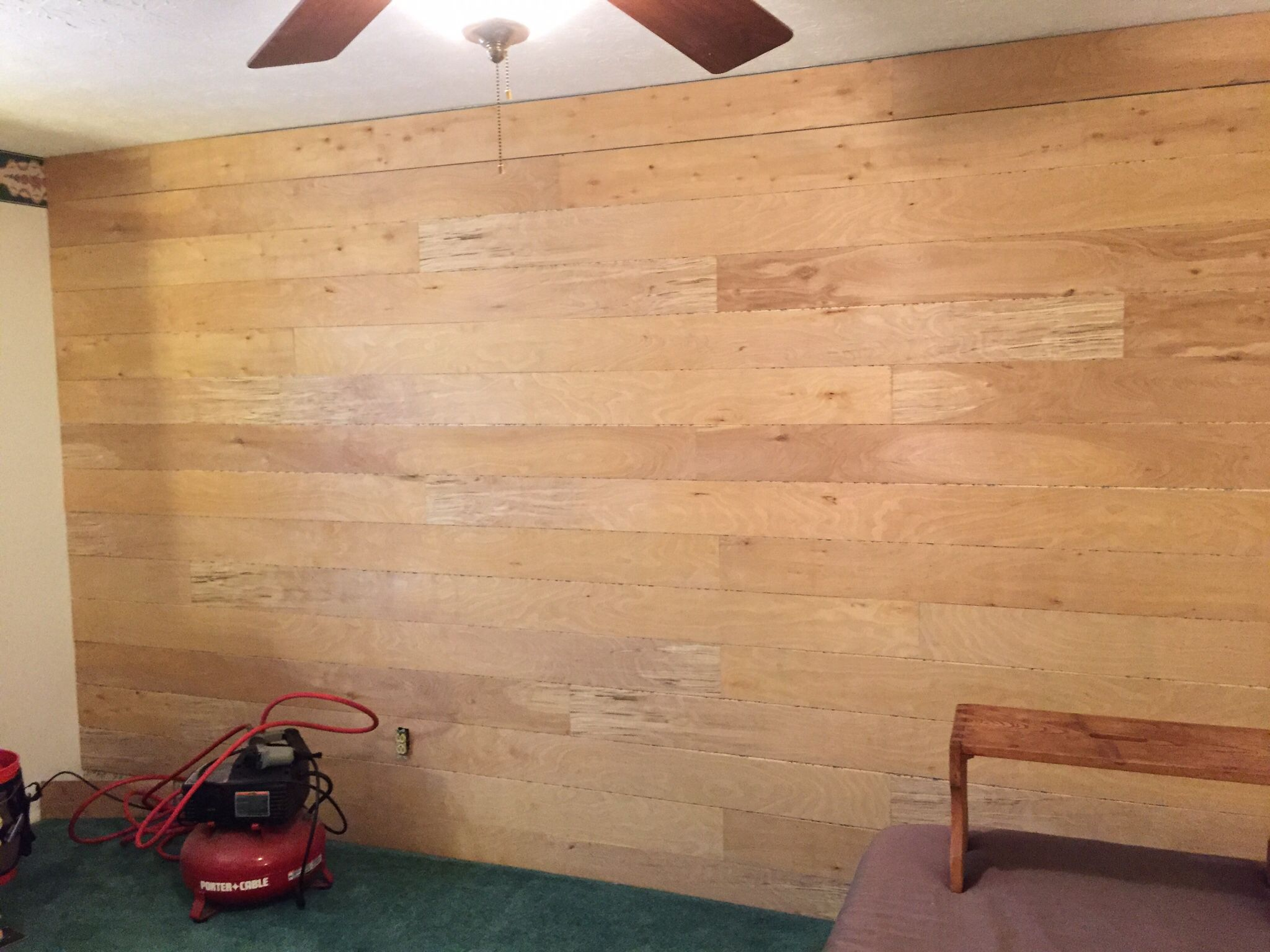covering impossible-to-remove wallpaper with faux shiplap