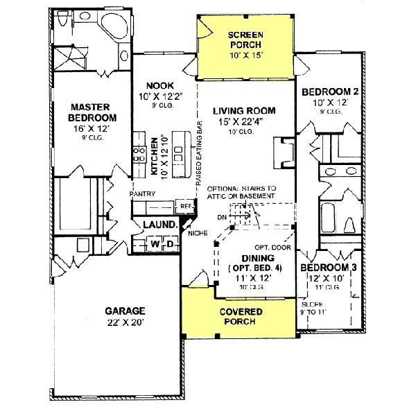 1734 Square Feet 3 Bedrooms 2 Batrooms 2 Parking Space On 1 Levels Floor Plan Number 1 House Plans Floor Plans Free House Plans