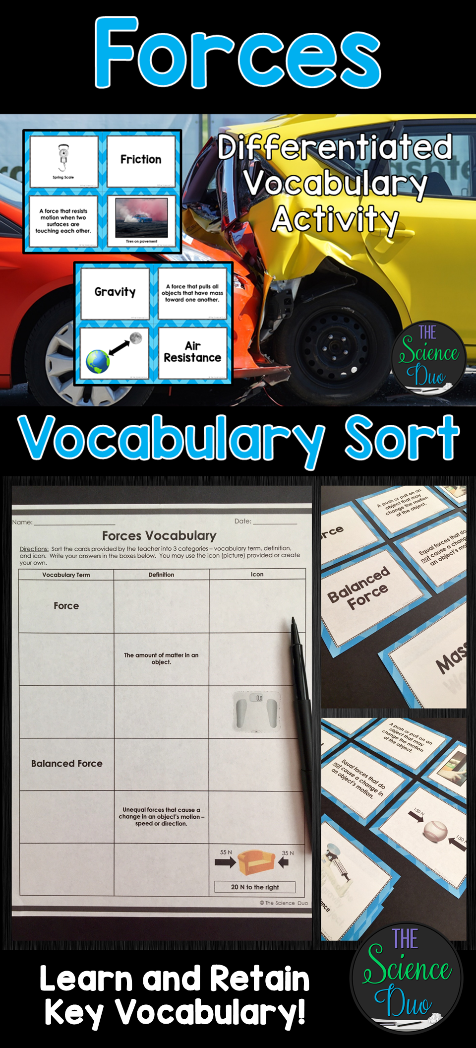 Forces Vocabulary Sort The Science Duo Products Vocabulary