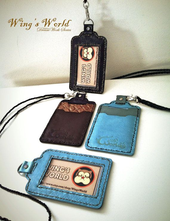 Leather ID Holder/ ID Card Holder/ Student ID Badge by WingsWorld ...
