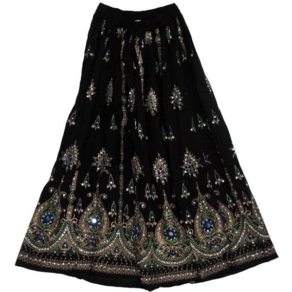 Attractive Black Sequined Indian Skirt - Clearance - Sale on bags, skirts, jewelry at polkadotinc.com found on Polyvore featuring polyvore, women's fashion, clothing, skirts, indian long skirts, hippy skirt, tie-dye maxi skirts, tie-dye skirt and tie dye long skirts