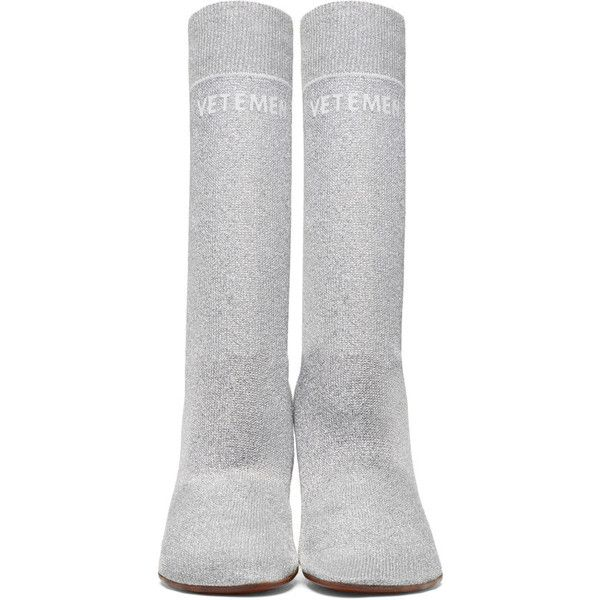 Vetements SSENSE Exclusive Silver Lurex Lighter Sock Boots kfO3mRjHlz