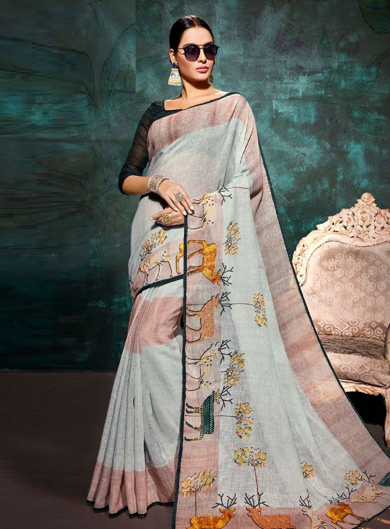 eec94ceb73844d Buy Gray Khadi Festival Wear Saree 146712 with blouse online at lowest price  from vast collection of sarees at Indianclothstore.com.