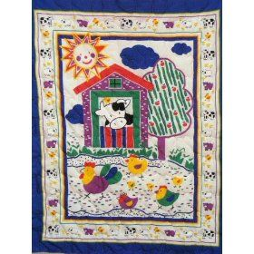 Barnyard Animals Baby Quilt & Great Shower Gift :           This Barnyard Animals Design Baby Nursery Crib Quilt is in Bold Primary Colors and is approximately 33 x 44 inches and is constructed with a 100% Cotton Front screen printed panel, white cotton backing and a 3.3 oz polyester batting fill. Quilted here in our Quilt Shop wit...