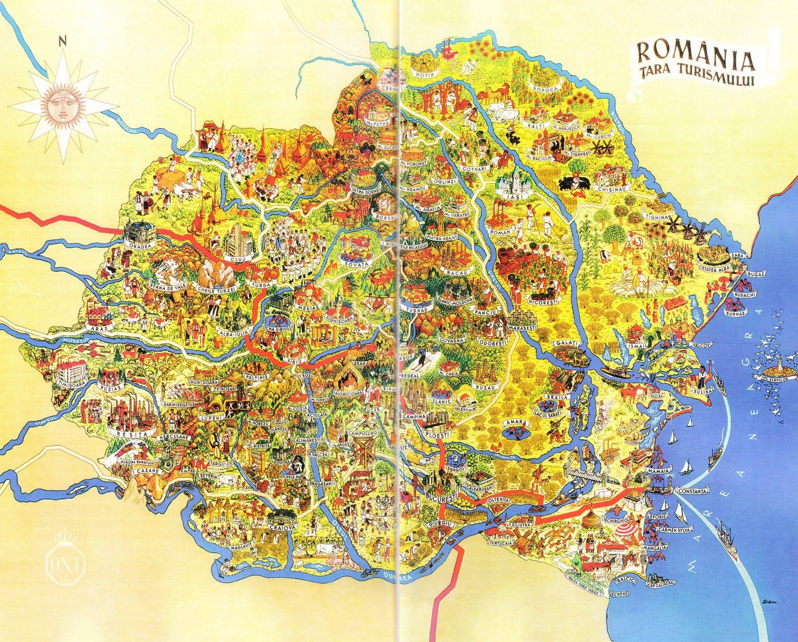 Harta Turistica A Romaniei Online Illustrated Map Romania Map