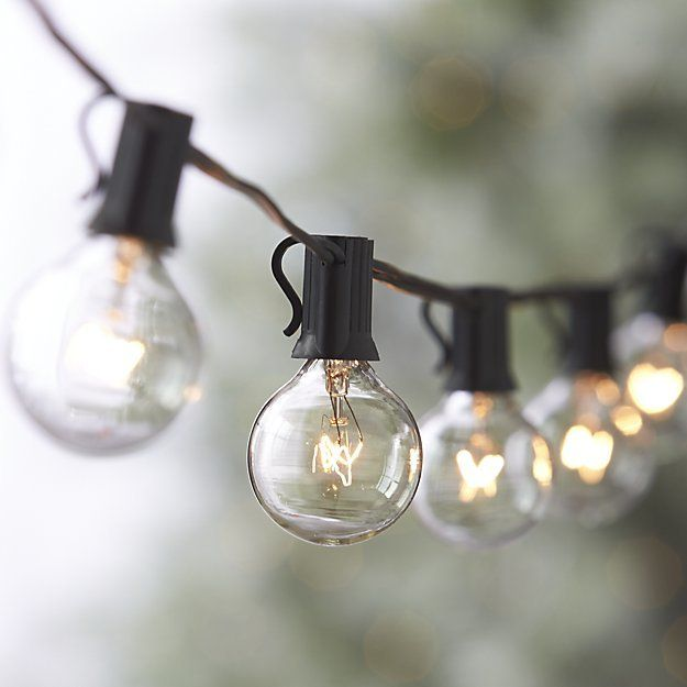 Indoor outdoor lights with clear easy to replace mini globes light up