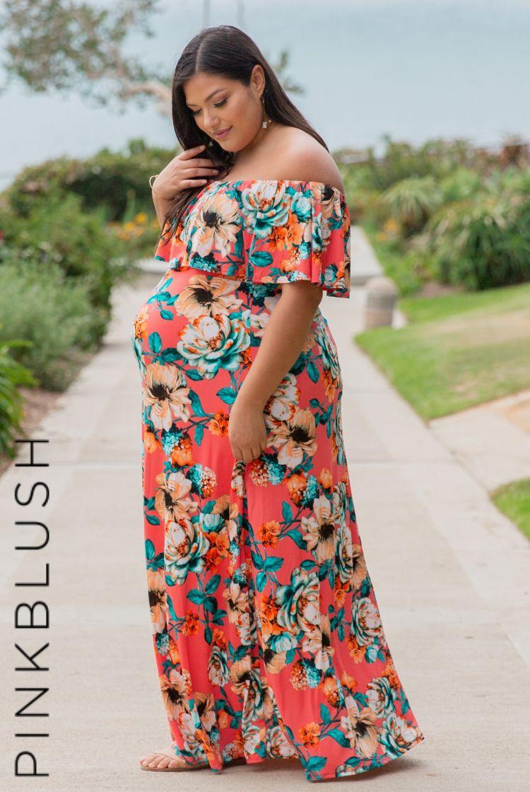 914a1c3f23e1 Floral print off shoulder plus maxi dress. Short sleeves. Cinched neckline.  Ruffle neckline.