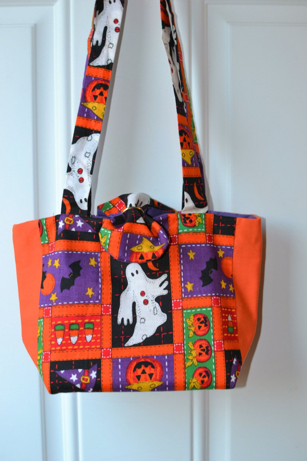 orange halloween handbag halloween ghost shoulder bag halloween bag tote handmade handbag - Halloween Handbag