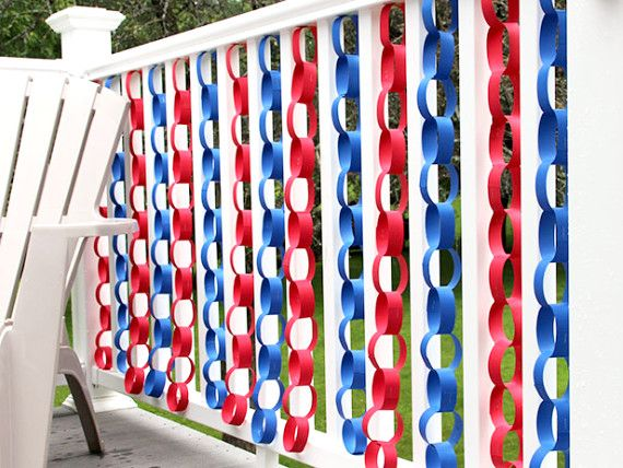 Diy Red White And Blue Paper Chains 4th Of July Decorations Fourth Of July Fourth Of July Decorations