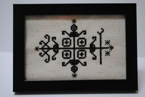 Etsy/papa-legba-framed-cross-stitch-voodoo-first, last, understanding, communication,big loa