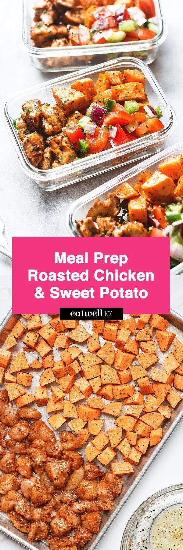 Roasted Chicken and Sweet Potato Meal Prep recipe Seasoned with olive oil and c Roasted Chicken and Sweet Potato Meal Prep recipe Seasoned with olive oil and cajun spices...